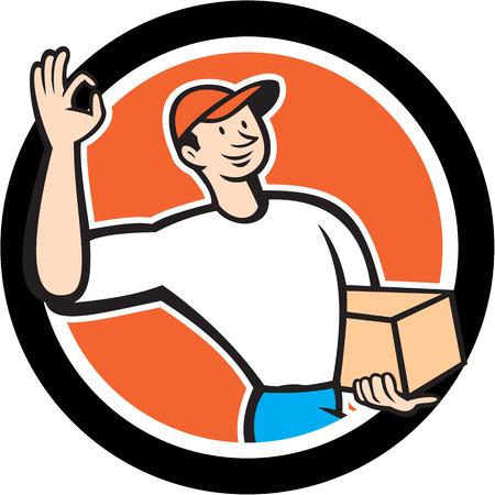 carrying box: Ilustraci�n de un trabajador repartidor de agitar bien firmar la entrega de llevar caja de cart�n paquete parcela fij� el c�rculo interior en el fondo aislado hecho en estilo de dibujos animados.