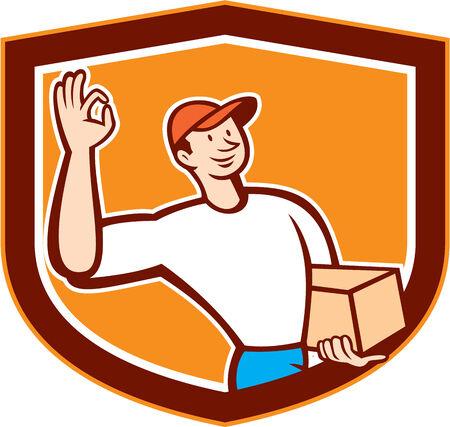 carrying box: Ilustraci�n de un signo bien entrega hombre trabajador entregar llevar caja de cart�n paquete parcela situada en el interior cresta escudo sobre fondo aislado hecho en estilo de dibujos animados.