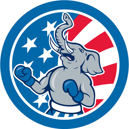 republican party: Illustration of a republican elephant boxer mascot of the republican party with stars and stripes in the background set inside circle done in cartoon style.