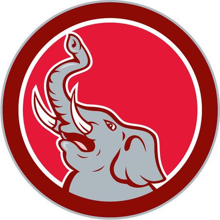 kel: Ilustrace rozzlobený sloní hlavy řval kel a chobotem nahoru přivrácené straně na izolované pozadí nastavena uvnitř kruhu provedené v kreslený styl.