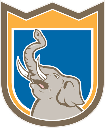 angry elephant: Illustration of an angry elephant head roaring with tusk and trunk up facing side on isolated background set inside shield crest done in cartoon style.  Illustration