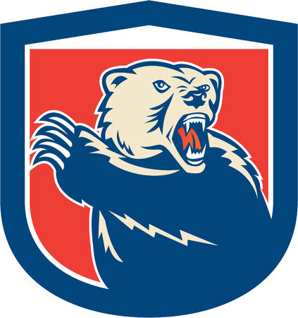 attacking: Illustration of a grizzly brown bear swiping his paw attacking set inside shield crest on isolated background done in retro style. Illustration