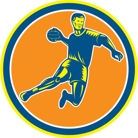 scoring: Illustration of a handball player jumping throwing ball scoring set inside circle on isolated background done in retro woodcut style Illustration