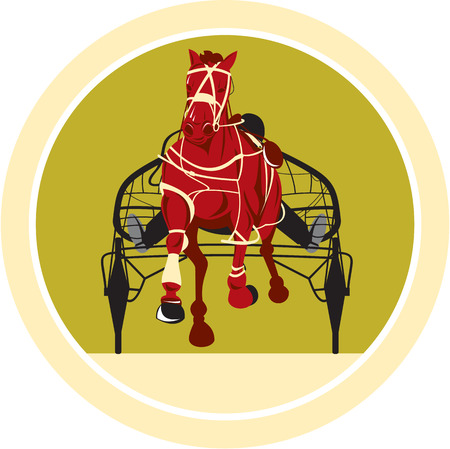 Illustration of a horse and jockey harness racing facing front on isolated background done in retro style.