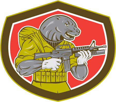 navy seal: Illustration of a navy seal holding an armalite rifle with greanade launcher set inside shield shape. Illustration