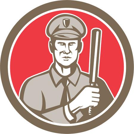 estafette stokje: Illustratie van een politieagent politieman met nacht-stick stokje naar de voorkant set binnen cirkel op witte achtergrond gedaan in retro stijl. Stock Illustratie