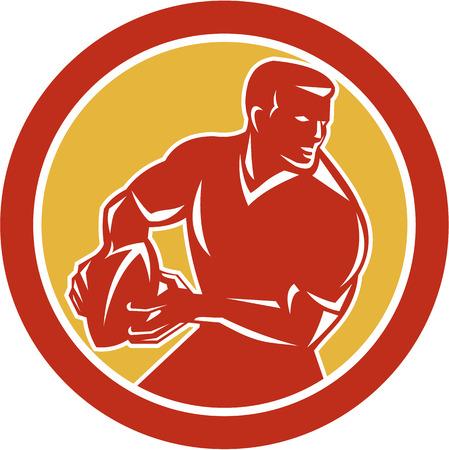 passing: Ilustraci�n de un jugador de rugby pasando la bola mirando al lado fij� el c�rculo interior en el fondo aislado hecho en estilo retro.