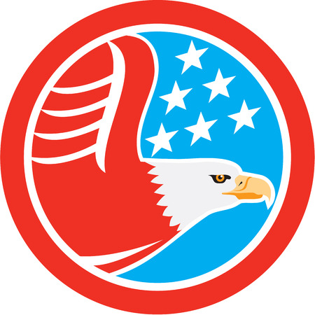 eagle flying: Illustration of a bald eagle flying viewed from the side with american stars in the background set inside a circle done in retro style.