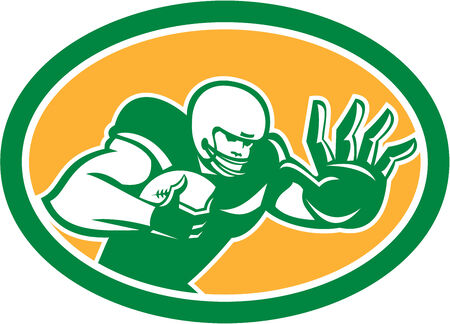 Illustrazione di un giocatore di football americano di calcio in possesso di palla difendersi da braccio rigido difenda impostato all'interno ovale su sfondo isolato fatto in stile retrò.