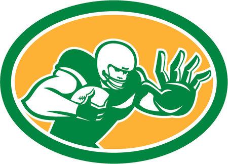 fend: Illustrazione di un giocatore di football americano di calcio in possesso di palla difendersi da braccio rigido difenda impostato all'interno ovale su sfondo isolato fatto in stile retr�.