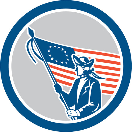 serviceman: Illustration of an American patriot soldier military serviceman waving holding USA stars and stripes flag set inside circle on isolated background done in retro style.