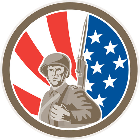 world war two: Illustration of an american world war two soldier serviceman military with bayonet set inside circle on stars and stripes background done in retro style.  Illustration