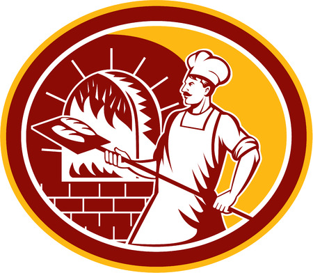 Illustration of a baker holding a peel with bread into a brick oven viewed from side set inside oval on isolated background done in retro style. Illustration
