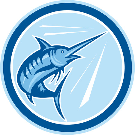 Illustration of a blue marlin fish jumping set inside circle on isolated background done in cartoon style.  Vector
