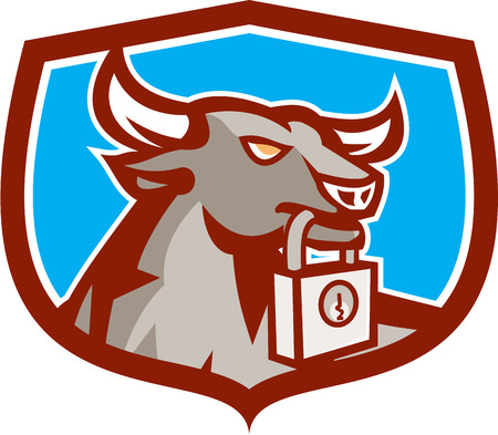 angry bull: Illustration of an angry raging bull head facing to side holding padlock in mouth set inside crest shield on isolated background done in retro style.