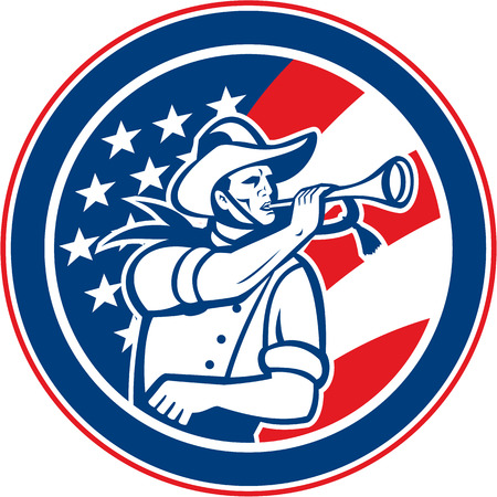cavalry: Illustration of an American calvary soldier blowing a bugle set insde circle with USA stars and stripes flag in background done in retro style.