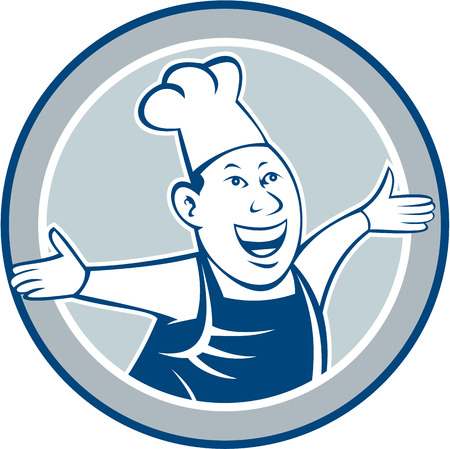 welcoming: Illustration of a chef cook looking happy smiling with arms out welcoming set inside circle on isolated background done in cartoon style.