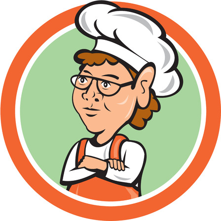 arms folded: Illustration of a female chef cook staring arms folded set inside circle on isolated background done in cartoon style.  Illustration