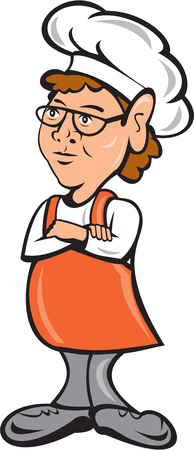 folded arms: Illustration of a female chef cook standing staring arms folded on isolated white background done in cartoon style.