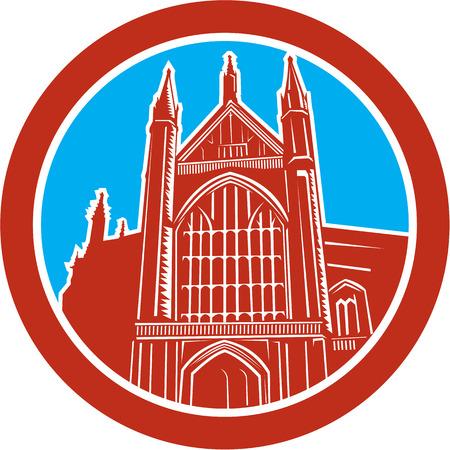 winchester: Illustrazione della Cattedrale di Winchester una Chiesa d'Inghilterra cattedrale di Winchester, Hampshire, in Inghilterra trova all'interno COVAL fatto in stile retr� xilografia.