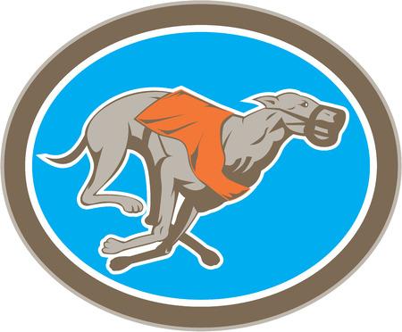 chart: Ilustracja wyścigów chartów pies patrząc z boku ustawić wewnątrz okręgu na pojedyncze tle wykonanej w stylu retro.