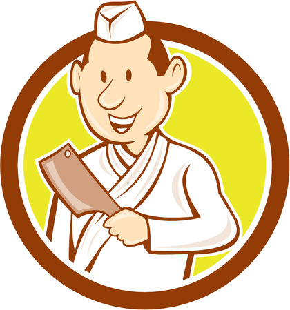 butcher knife: Illustration of a Japanese chef cook holding meat cleaver kitchen butcher knife facing front set inside circle on isolated background done in cartoon style. Illustration