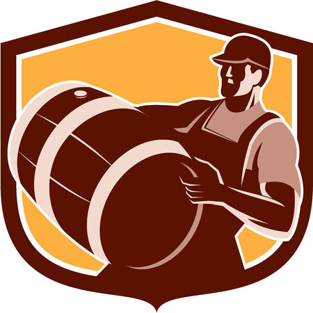 Retro style illustration of a bartender worker carrying beer keg barrel drum looking up set inside shield on isolated white background. Ilustração