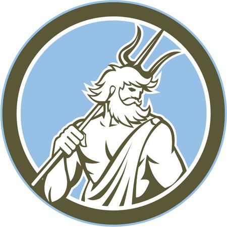 Illustration of Roman god of sea Neptune Poseidon of Greek mythology holding a trident on shoulder set inside circle on isolated background done in retro style