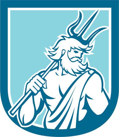 neptuno: Ilustración del dios romano del mar Neptuno o Poseidón de la mitología griega que sostiene un conjunto tridente dentro cresta escudo sobre fondo aislado hecho en estilo retro