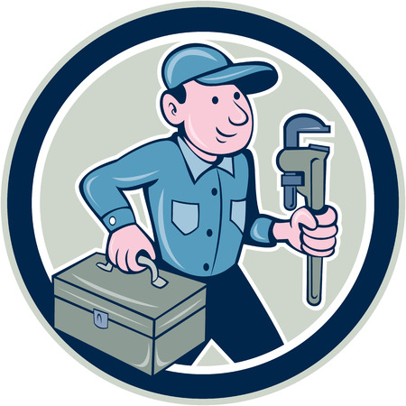 Illustration of a plumber holding monkey wrench and toolbox set inside circle done in cartoon style on isolated background. Vector