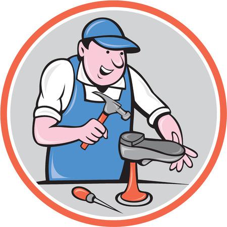 靴屋靴屋靴のイラストは、ハンマーと漫画のスタイルで行われる分離の背景にサークル内部セットの作業靴修理します。  イラスト・ベクター素材