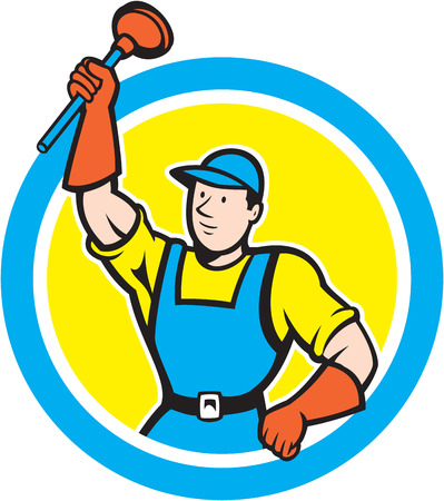 handyman cartoon: Illustration of a super plumber holding raising plunger set inside circle on isolated background done in cartoon style. Illustration