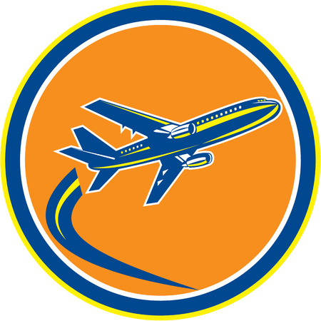 Illustration of a commercial jet plane airliner jumbo jet flying set inside circle on isolated background done in retro style.