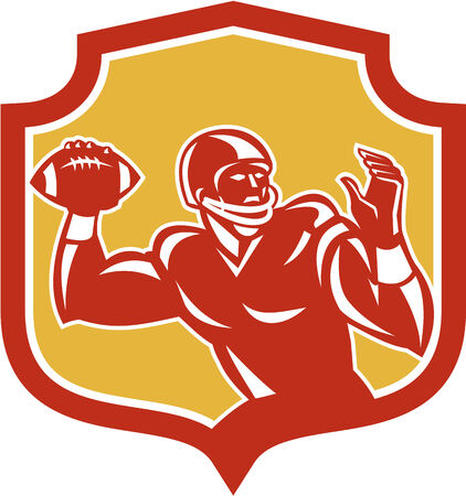quarterback: Illustration of an american football gridiron quarterback player throwing passing ball facing side set inside crest shield on isolated background done in retro style.