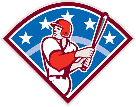 baseball diamond: Ilustraci�n de un jugador de b�isbol bateador bateador americana buscar celebraci�n bate listo para llegar a establecer dentro de la forma del diamante con las estrellas y las rayas en el fondo hecho en estilo retro.