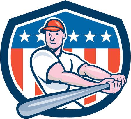 bateo: Ilustraci�n de un jugador de b�isbol bateador bateador bateo americana con el conjunto de murci�lagos en el interior escudo escudo con las barras y estrellas de la bandera en el fondo hecho en estilo de dibujos animados.