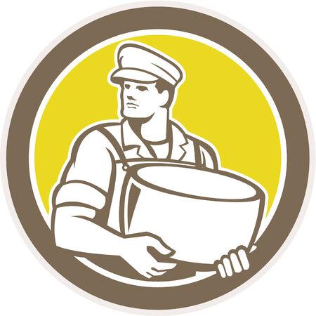 parmigiano: Illustrazione di un blocco di parmigiano casaro in piedi in possesso di fronte al lato impostato all'interno cerchio su sfondo isolato fatto in stile retr�.