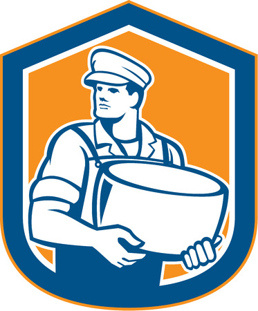 Illustration of a cheesemaker standing holding parmesan cheese block facing to side set inside shield on isolated background done in retro style.