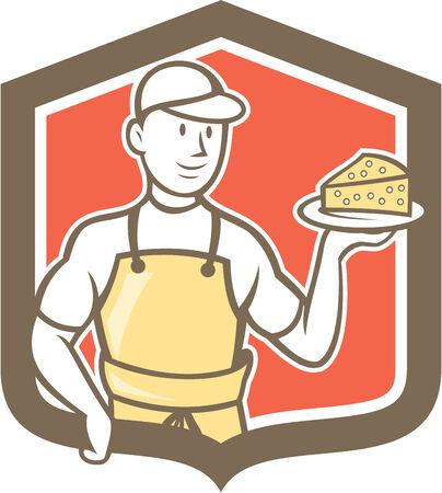 parmigiano: Illustrazione di un casaro in piedi tenendo blocco di parmigiano sul set piatto all'interno scudo stemma su sfondo isolato fatto in stile cartone animato. Vettoriali