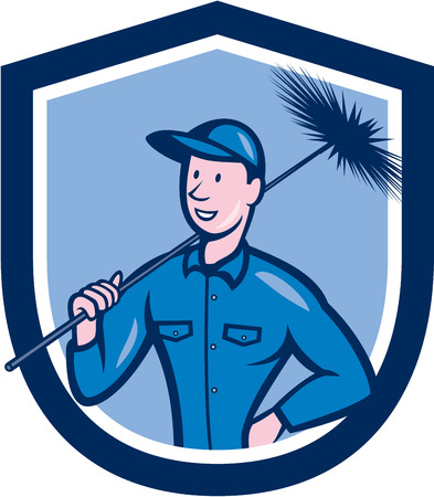 chimney sweep: Illustration of a chimney sweep holding sweeper set inside shield crest on isolated background done in cartoon style.