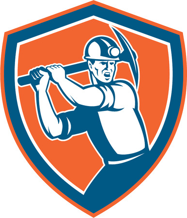 pick axe: Illustration of a coal miner wearing hardhat with pick axe looking to the side set inside shield crest on isolated background done in retro style. Illustration