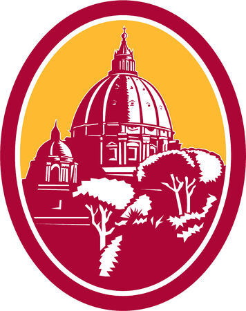 peters: Illustration of the Dome of St Peters Basilica Vatican church in Rome, Italy set inside oval done in retro woodcut style. Illustration