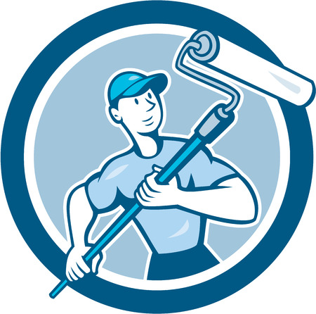 Illustration of a house painter handyman holding paint roller set inside circle on isolated background done in cartoon style.