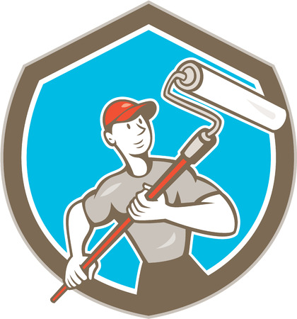 Illustration of a house painter handyman holding paint roller set inside shield crest on isolated background done in cartoon style. Vector