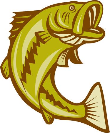 ジャンプ オオクチバスの魚のイラストが孤立した白い背景の上の漫画のスタイルで行われます。