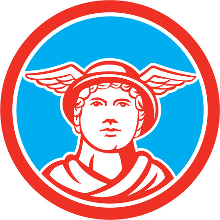 messengers of god: Illustration of Roman god Mercury patron god of financial gain, commerce, communication and travelers wearing winged hat facing front set inside circle on isolated background done in retro style.