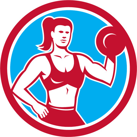 flex: Illustration of a female personal trainer fitness professional bodybuilder lifting dumbbell flexing muscles viewed from front set inside circle done in retro style.