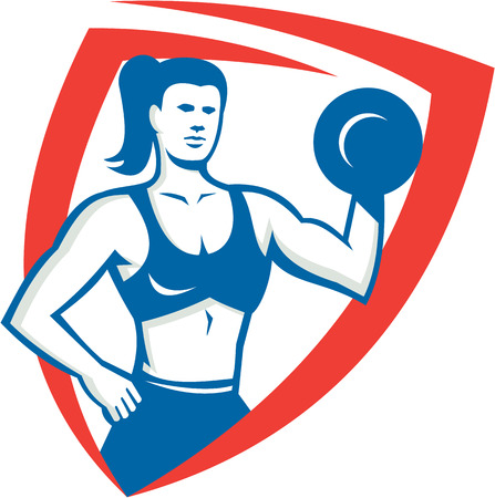 flexing: Illustration of a female personal trainer fitness professional bodybuilder lifting dumbbell flexing muscles viewed from front set inside shield  done in retro style.