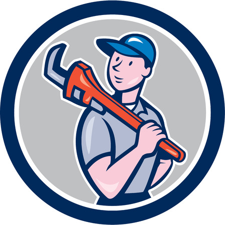 monkey wrench: Illustration of a plumber holding monkey wrench on shoulder set inside circle on isolated background done in cartoon style.