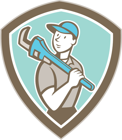 Illustration of a plumber holding monkey wrench on shoulder set inside shield crest on isolated background done in cartoon style. Vector